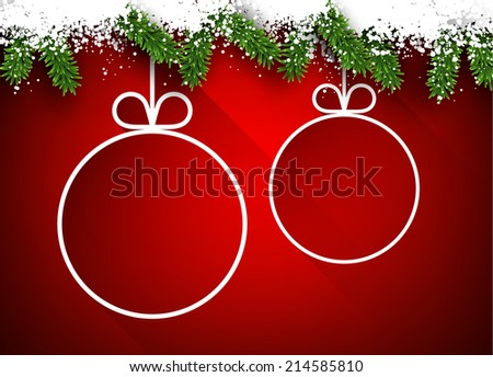 Christmas paper balls over red winter abstract background. Vector illustration with snowflakes.  - stock vector