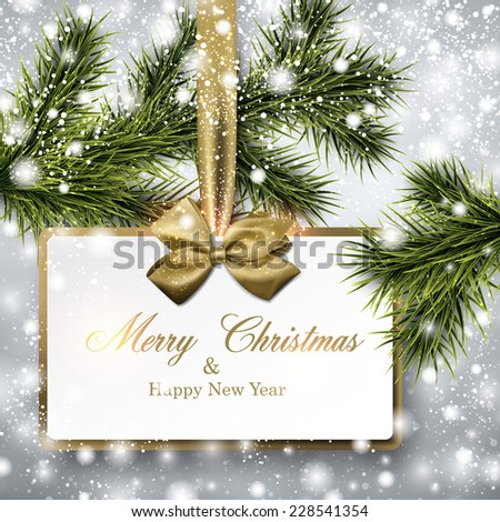 Christmas paper card. Winter background with spruce twigs. Vector illustration.  - stock vector