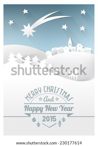 Christmas paper card with hand cut paper landscape and hipster text. - stock vector