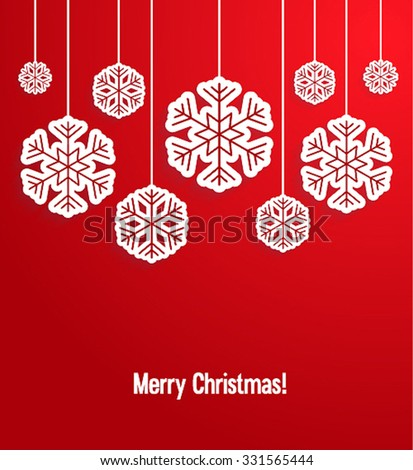 Christmas paper card with hanging snowflakes. Vector illustration. - stock vector