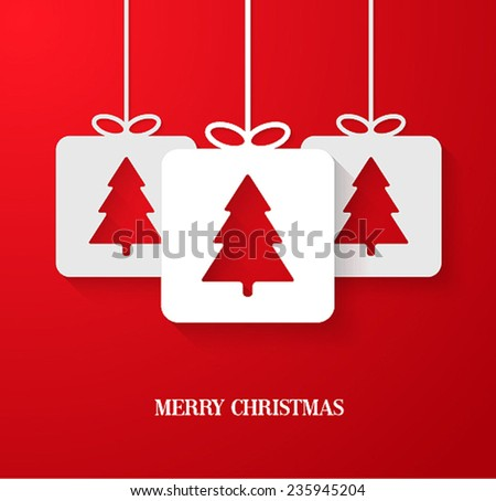 Christmas paper card with hanging toy. Vector illustration. - stock vector
