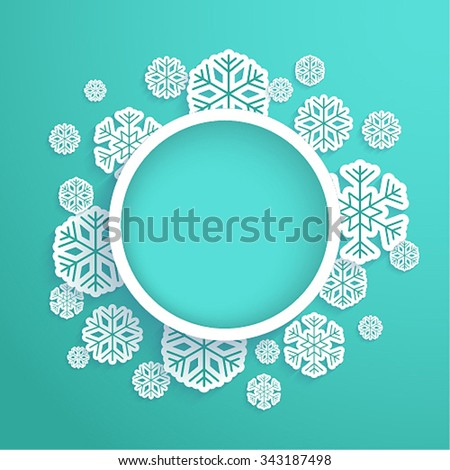 Christmas paper card with snowflakes. Vector illustration. - stock vector