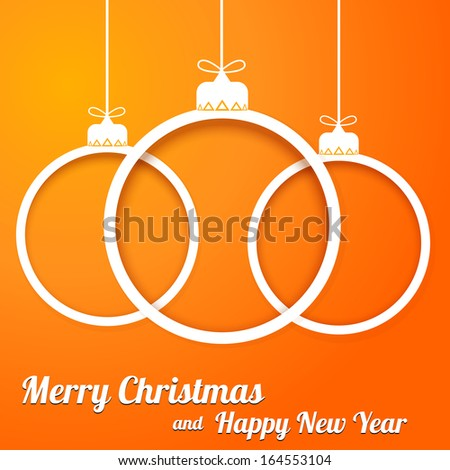 Christmas paper cut balls with text on orange backgraund - stock vector