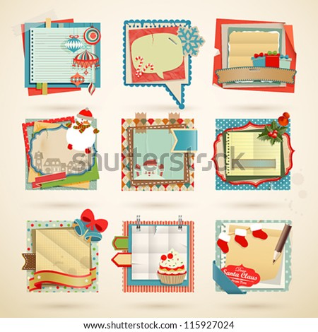 Christmas Paper notes. Scrapbooking elements. - stock vector