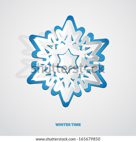 Christmas paper snowflake cutout vector background - stock vector