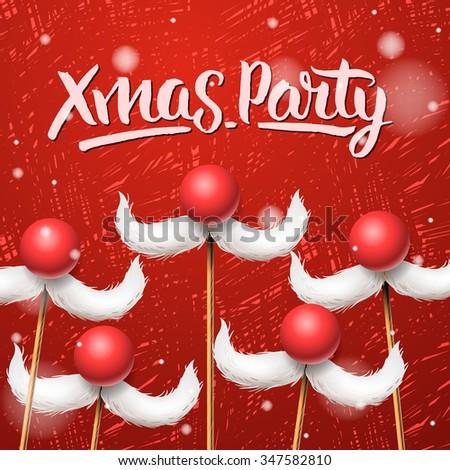 Christmas Party card, Santa Claus moustache, vector illustration. - stock vector