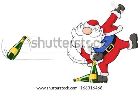 Christmas party celebration humorous cartoon, vector, isolated  - stock vector
