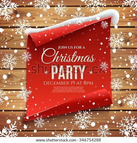 Christmas party invitation poster. Red, curved, paper banner on wooden planks, with snow and snowflakes. Vector illustration. - stock vector