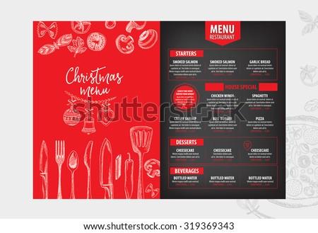 Christmas party invitation restaurant menu design stock vector christmas party invitation restaurant menu design vector template with graphic stopboris Images