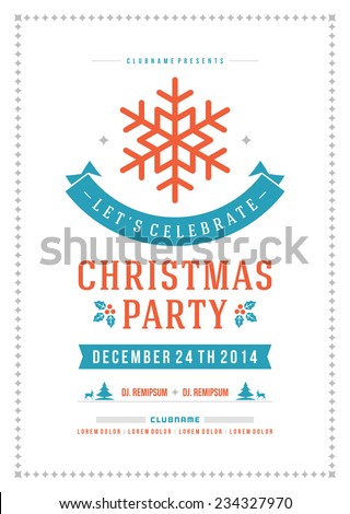 Christmas party invitation retro typography and ornament decoration. Christmas holidays flyer or poster design. Vector illustration Eps 10. - stock vector