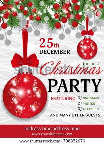 Christmas Party Invitation Template Background Fir Stock Photo