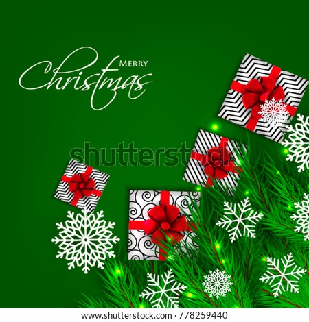 Christmas party invitation template greeting card with gift boxes, pine and fir branches wreath in the snowflake, lights