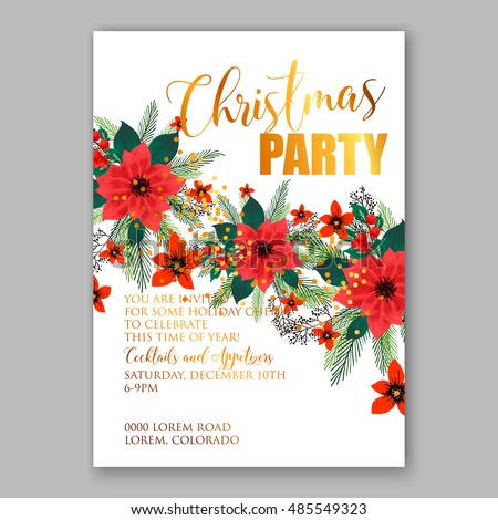 Christmas party invitation template with poinsettia flowers
