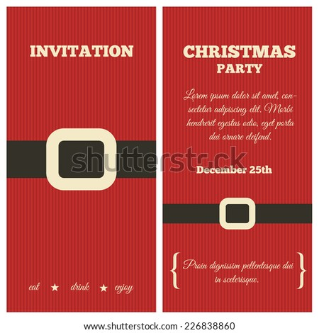 Christmas party invitation. Traditional colors. Santa clothing. - stock vector