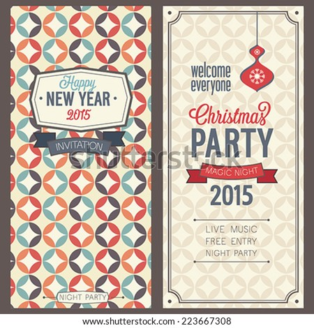 Christmas party invitation. Vector illustration. - stock vector