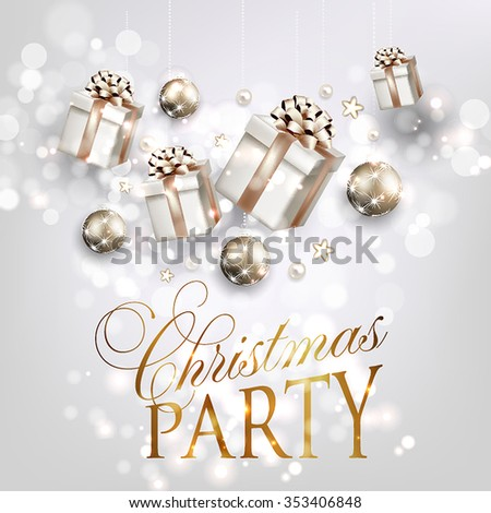 Christmas party invitation with fir branch, Bow, gift box and Stars. Merry Christmas and Happy New Year Card Xmas Decorations. Blur Snowflakes. Vector. - stock vector