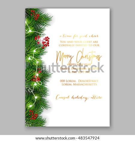 Christmas party invitation with fir, pine and holly berry branches garland.