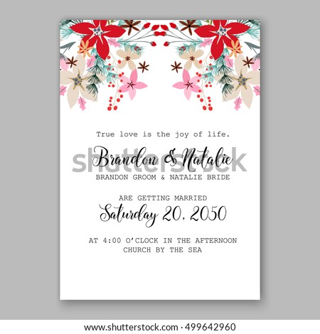 Christmas party invitation with holiday wreath of poinsettia, needle, holly Wedding invitation or card with tropical floral background. Greeting postcard vector chrysanthemum Valentine day  Luau Aloha