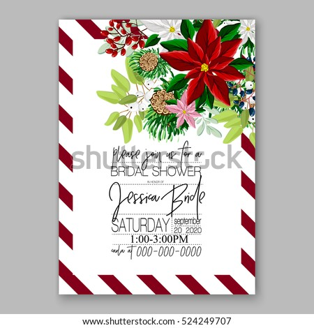 Christmas party invitation with holiday wreath of poinsettia, needle, holly wild Privet Berry