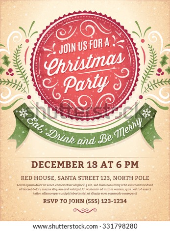 Christmas party invitation with ornaments, label and ribbon. Vector format. - stock vector