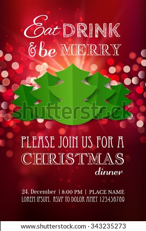 Christmas Party Dinner Invitation Poster Flyer Stock Vector