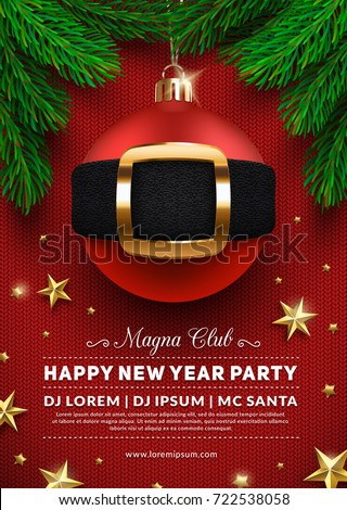 Christmas party poster design. 3d christmas ball with Santa's belt. Creative winter holidays background. Eps10 vector