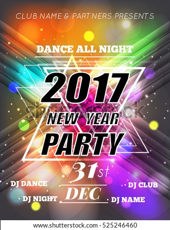 Christmas Party Poster. Happy 2017 New Year Flyer. New Year party design with multicolored bokeh lights backdrop. Vector illustration