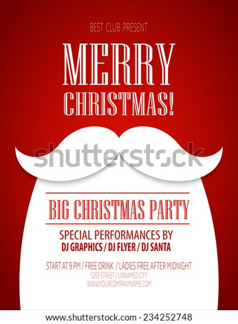 Christmas party poster. Vector illustration - stock vector