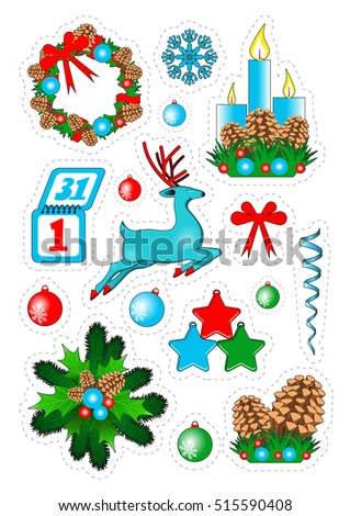 Christmas  patch badges, stickers: reindeer, wreath, cones, snowflakes, ribbon, toys, calendar, streamers, candles.