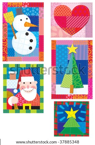 christmas patchwork - stock vector