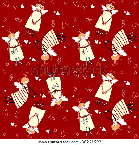 Christmas pattern. Angels and hearts on a red background. - stock vector