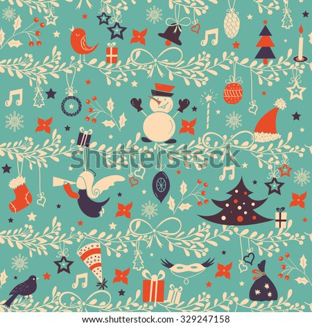 Christmas pattern background. - stock vector