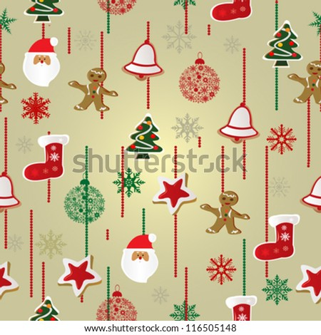 christmas pattern background vector illustration - stock vector