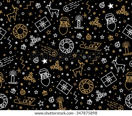 Christmas pattern for wrapping paper with Christmas icons. The thin line in gold and silver color. Use paper, fabrics, prints, invitations. - stock vector