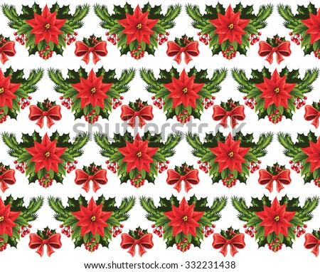 Christmas pattern on a white background. - stock vector