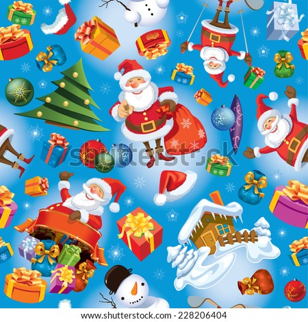Christmas pattern with Santa Claus, gifts, Christmas balls and tree.  - stock vector