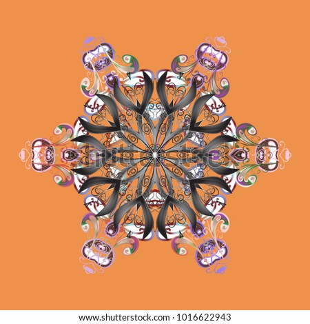 Christmas pattern with snowflakes abstract background. Orange, gray and neutral colors. Holiday design for Christmas and New Year fashion prints. Vector illustration.