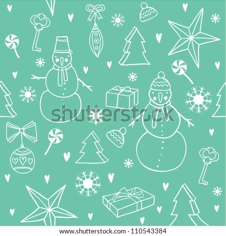 Christmas pattern with snowman - stock vector