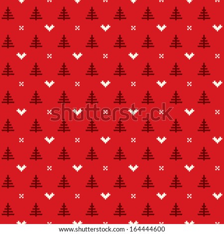 christmas pattern with trees - stock vector