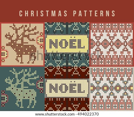 Christmas patterns card set. Vector illustration.