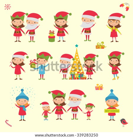 Christmas People collection. Vector Illustration - stock vector