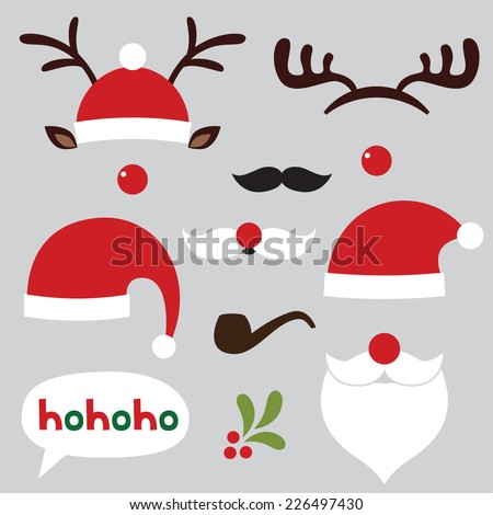 Christmas photo booth and scrapbooking vector set (Santa and deer) - stock vector