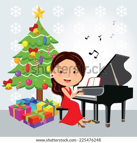 Christmas piano recital. Vector illustration of of a pretty young girl having a Christmas piano recital or Christmas concert. - stock vector