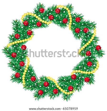 Christmas pine garland decorated with red ball - stock vector
