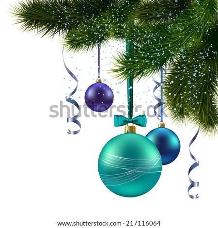 Christmas pine tree branch with decoration balls background greeting postcard vector illustration - stock vector