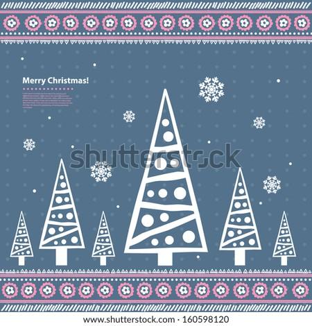 Christmas pine trees - stock vector