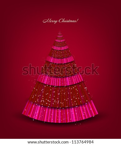 Christmas pink background with tree. Vector illustration - stock vector