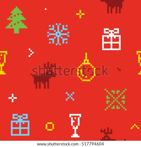 Christmas pixel art seamless background with deers