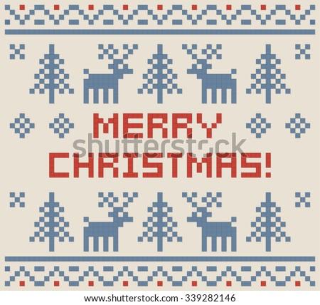 Christmas Pixel Art Winter Pattern Print Stock Vector 339282146 ...
