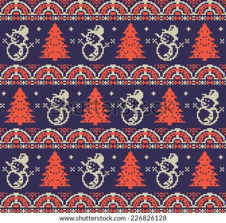 Christmas pixel background - stock vector